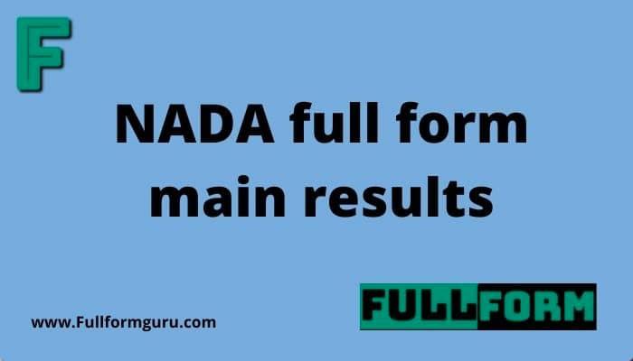 NADA full form main results
