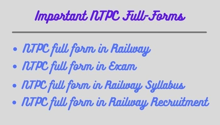 Important NTPC Full-Forms