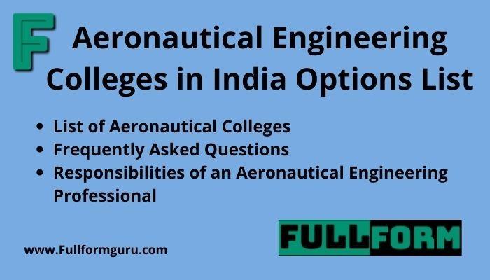 Aeronautical Engineering Colleges in India