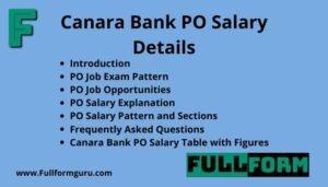 Canara Bank PO Salary details