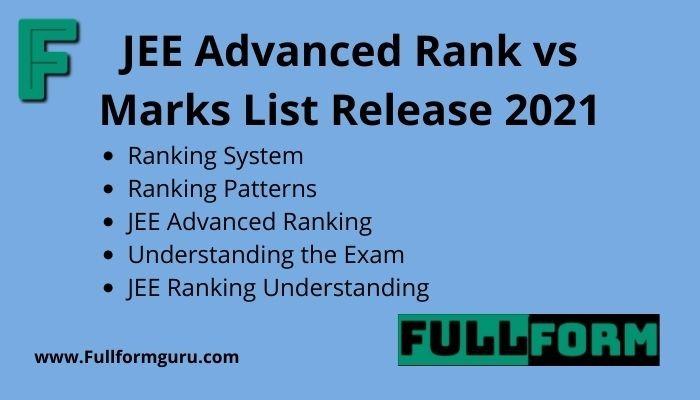 JEE Advanced Rank vs Marks List Release