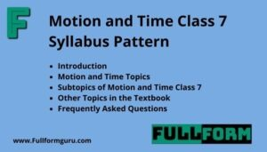 Motion and Time Class 7 Syllabus Pattern