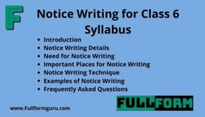 Notice Writing for Class 6 Syllabus