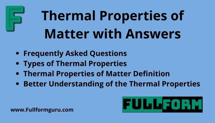 Thermal Properties of Matter with Answers 2021