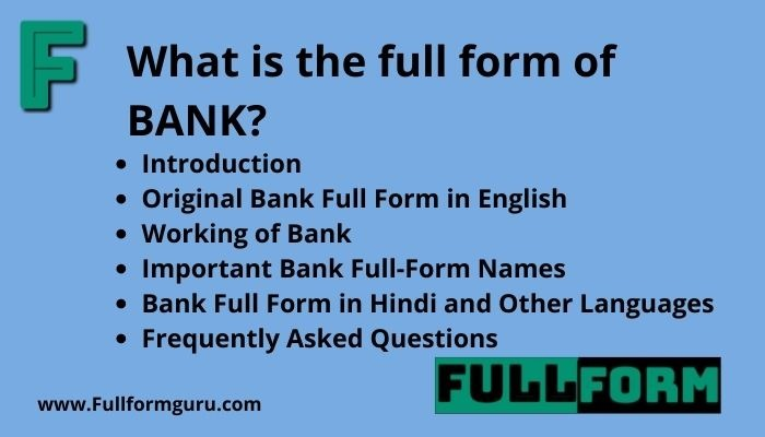BANK Full Form and Explanation