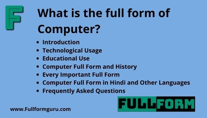 COMPUTER Full Form for Readers