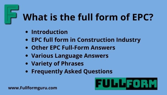 EPC Full Form Different Answers