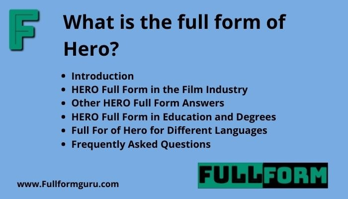 HERO Full Form and Meanings