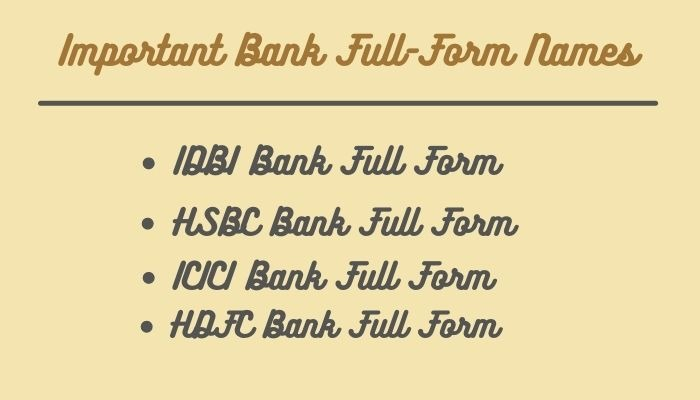 Important Bank Full Form Names