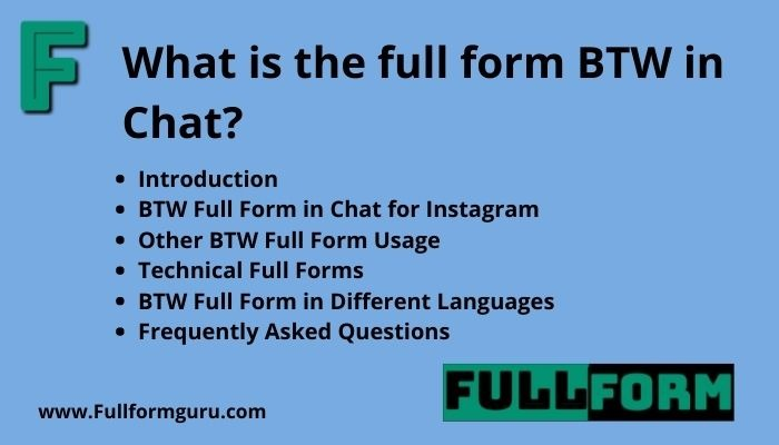 What is btw full form in chat