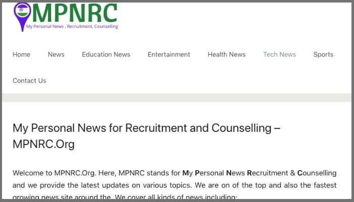 mpnrc full form in unofficial website my personal news recruitment counselling